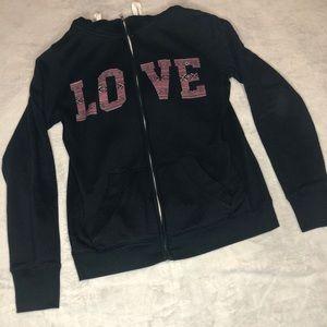 Cabin Fever Black Love Sweater zip up